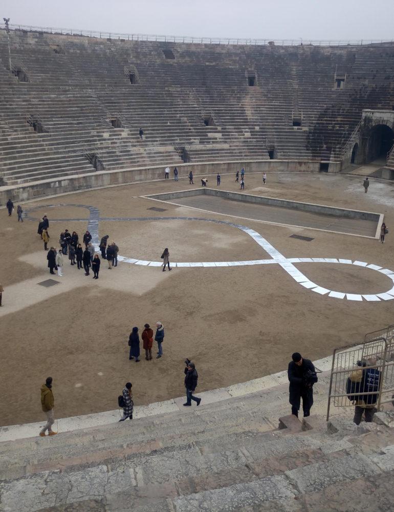 """Cultura: in Arena l'opera """"Il terzo Paradiso"""" di Pistoletto"""