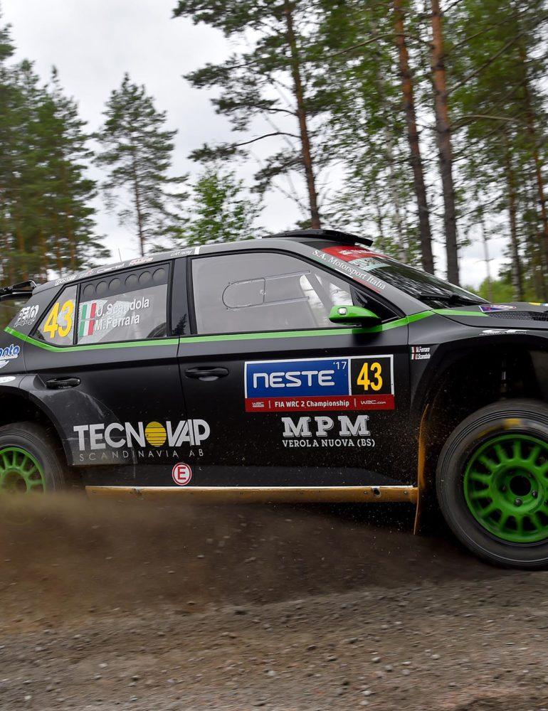 Umberto Scandola nel mondiale WRC2 con la ŠKODA Fabia R5