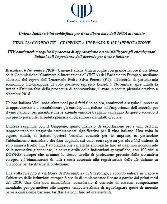 Unione Italiana Vini soddisfatta per il via libera dato dall'INTA al trattato