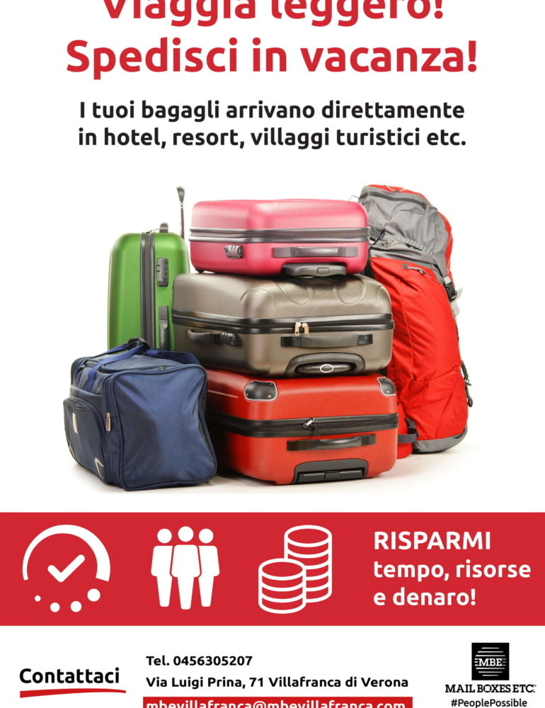 Viaggia leggero! Spedisci in vacanza! I tuoi bagagli arrivano direttamente in resort, hotel , villaggi turistici etc.