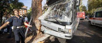 Bus contro albero a Roma: l'autista era al cellulare