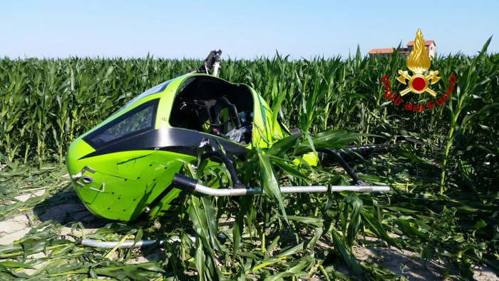 Elicottero cade nel veneziano, ferito pilota