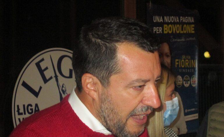 Matteo Salvini a Bovolone per appoggiare al ballottaggio la candidata di centrodestra Silvia Fiorini